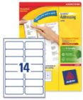 Avery Addressing Labels Laser Jam-free 14 per Sheet 99.1x38.1mm White Ref L7163-250 [3500 Labels]